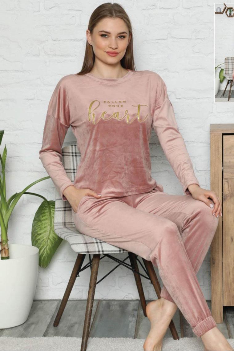Kadife Pijama Takım Pudra